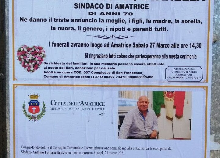 Addio al sindaco di Amatrice